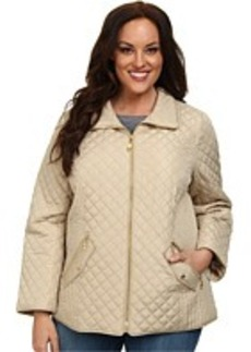 Ellen Tracy Plus Size Button Front Quilted Trench