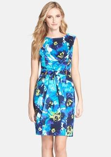 Ellen Tracy Print Belted Sheath Dress