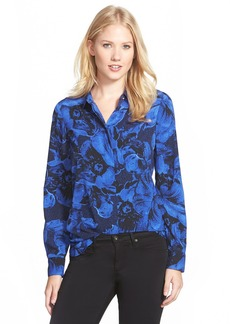 Ellen Tracy Print Crepe Boyfriend Shirt