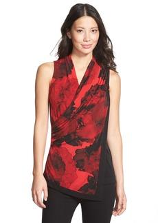 Ellen Tracy Print Drape Wrap Front Shell (Regular & Petite)