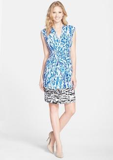 Ellen Tracy Print Faux Wrap Dress