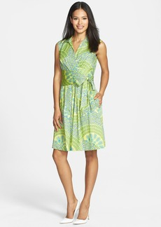 Ellen Tracy Print Faux Wrap Shirtdress