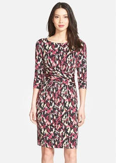 Ellen Tracy Print Gathered Jersey Sheath Dress (Regular & Petite)
