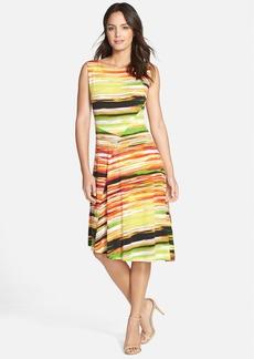Ellen Tracy Print Jersey Asymmetric Dress