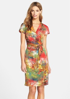 Ellen Tracy Print Jersey Faux Wrap Dress