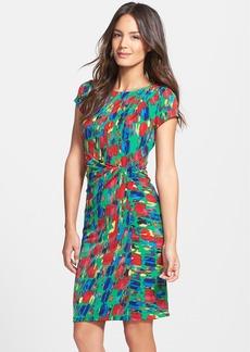 Ellen Tracy Print Jersey Faux Wrap Sheath Dress (Regular & Petite)