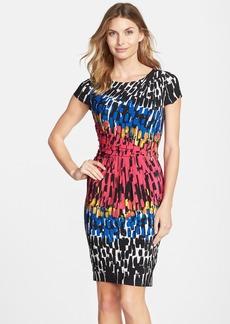 Ellen Tracy Print Jersey Sheath Dress