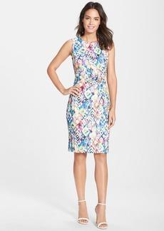 Ellen Tracy Print Lace Wrap Detail Sheath Dress