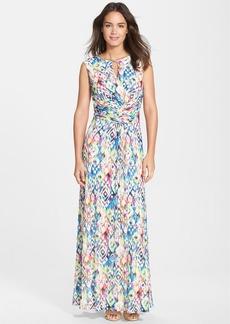 Ellen Tracy Print Ruched Maxi Dress