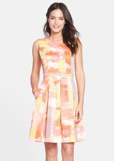 Ellen Tracy Print Scuba Fit & Flare Dress