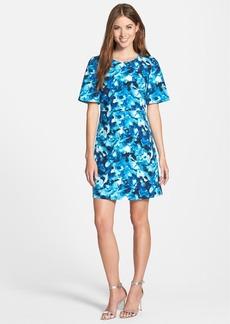 Ellen Tracy Print Short Sleeve Sheath Dress (Regular & Petite)