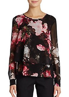 Ellen Tracy Printed Double-Layered Chiffon Blouse