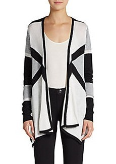 Ellen Tracy Printed Draped Cotton-Blend Cardigan