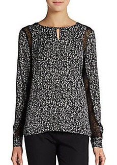 Ellen Tracy Printed Lace-Inset Blouse