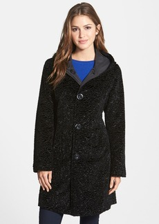 Ellen Tracy Reversible Hooded Faux Persian Lamb Fur Coat