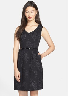 Ellen Tracy Rose Jacquard Sleeveless Fit & Flare Dress
