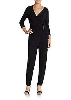 Ellen Tracy Ruched-Detailed Surplice Jumpsuit