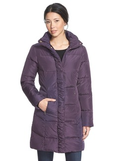 Ellen Tracy Ruched Stand Collar Down Coat