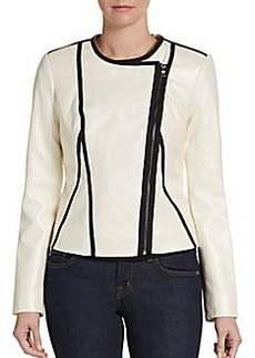 Ellen Tracy Seamed Two-Toned Faux-Leather Jacket