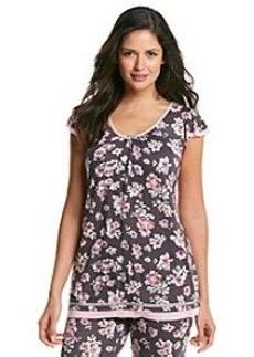 Ellen Tracy® Short Sleeve Top - Gray Floral
