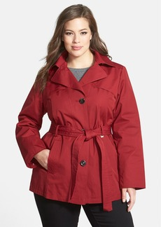 Ellen Tracy Short Trench Coat with Detachable Hood (Plus Size)