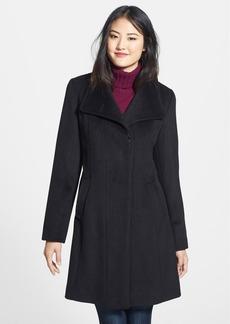 Ellen Tracy Single Breasted Wool Blend Walking Coat (Regular & Petite)