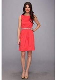 Ellen Tracy Sleeveless Cotton Fit And Flare With Striped Belt