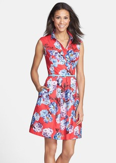 Ellen Tracy Sleeveless Floral Print Faux Wrap Shirtdress