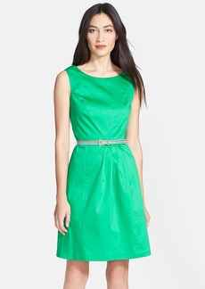Ellen Tracy Sleeveless Origami Pleat Stretch Cotton Fit & Flare Dress