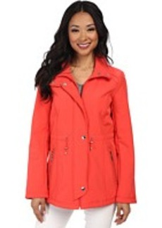 Ellen Tracy Snap Front Anorak Soft Shell w/ Stand Collar
