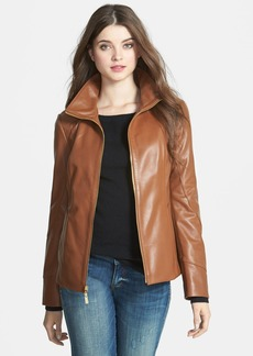 Ellen Tracy Stand Collar Leather Scuba Jacket (Petite) (Online Only)