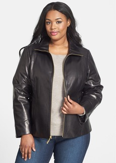 Ellen Tracy Stand Collar Leather Scuba Jacket (Plus Size)