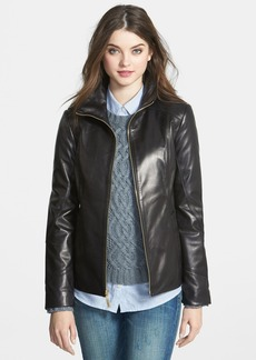Ellen Tracy Stand Collar Leather Scuba Jacket