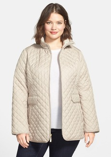 Ellen Tracy Stand Collar Quilted Coat (Plus Size)