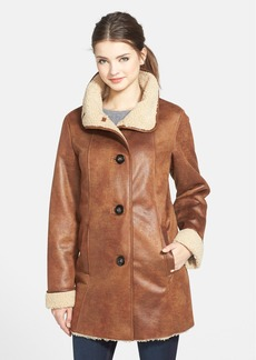 Ellen Tracy Stand Collar Washable Faux Shearling Coat