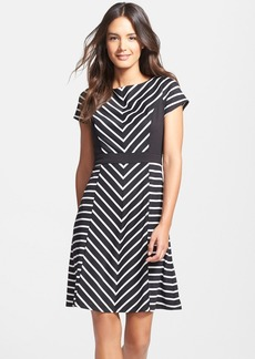 Ellen Tracy Stripe Ponte Fit & Flare Dress (Regular & Petite)