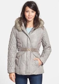 Ellen Tracy Tweed Two-Tone Hooded Down Jacket with Faux Fur Trim (Online Only)