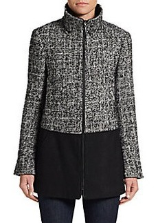 Ellen Tracy Tweed Zip-Front Jacket