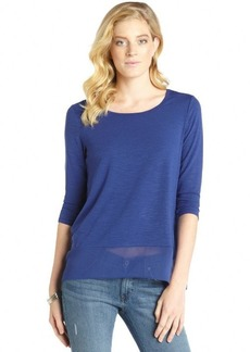 Ellen Tracy twilight blue knit scoop neck hi-low top