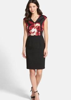 Ellen Tracy Two-Piece Look V-Neck Sheath Dress