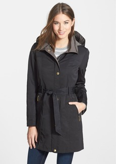 Ellen Tracy Two-Tone Belted Raincoat with Detachable Hood & Liner