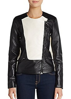 Ellen Tracy Two-Tone Faux Leather Moto Jacket