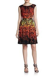Ellen Tracy Vibrant-Print Belted Dress