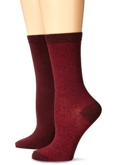 Ellen Tracy Women's 2 Pack Textured Swirl Motif Crew Socks
