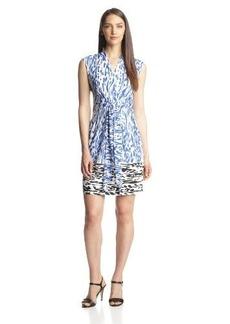 Ellen Tracy Women's Cap-Sleeve Printed Wrap Dress