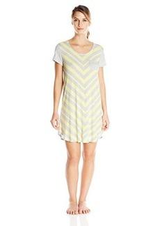 Ellen Tracy Women's Rayon Spandex Short Sleeve Knit Print Sleep Shirt