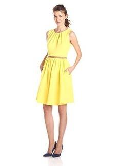 Ellen Tracy Women's Sleeveless Gathered Neck Belted Dress