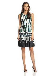Ellen Tracy Women's Sleeveless Printed Fit-and-Flare Dress