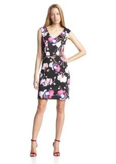 Ellen Tracy Women's Sleeveless V-Neck Floral Print Dress