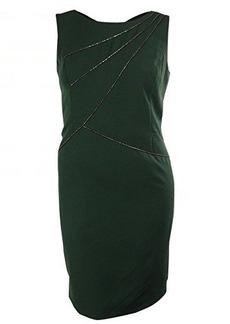 Ellen Tracy Women's V-Back Faux Leather Trim Sheath Dress